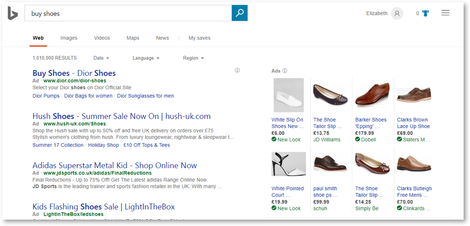 Bing Search Shopping Example