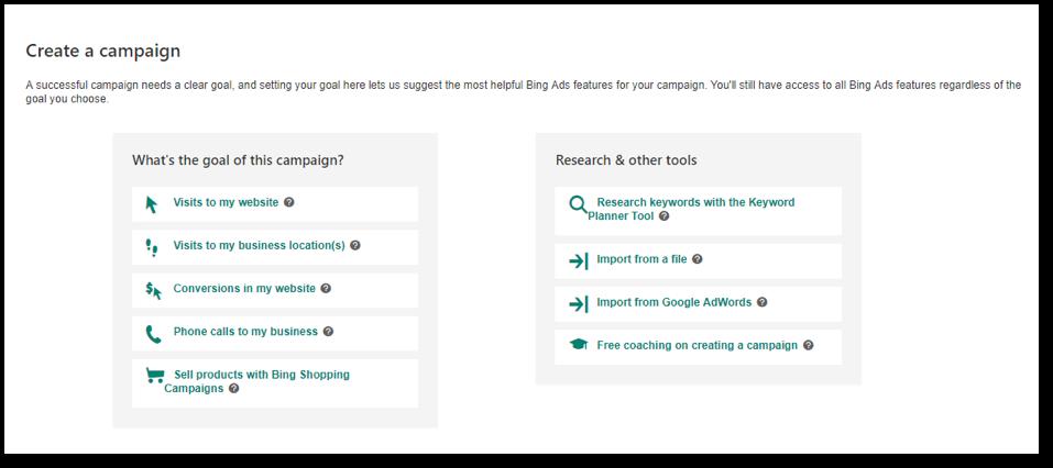 Create a Bing Campaign