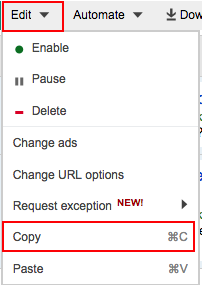 Copy ads and keywords menu