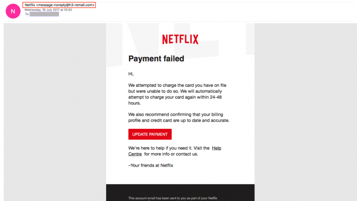 Netflix Email Scam Example