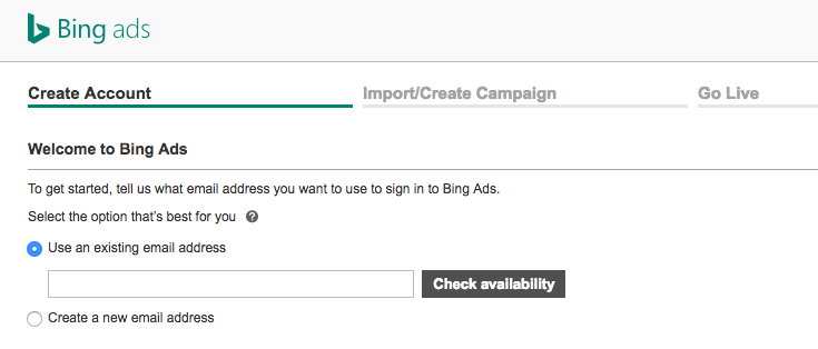 Get started with Bing Ads - Step 2