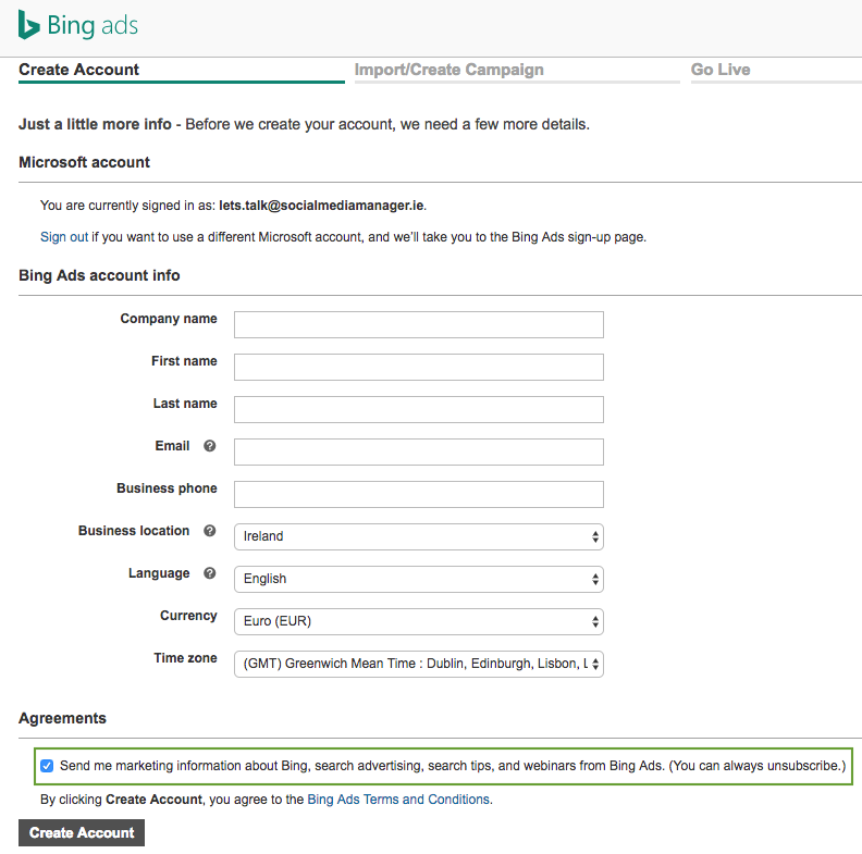 Get started with Bing Ads - Step 4