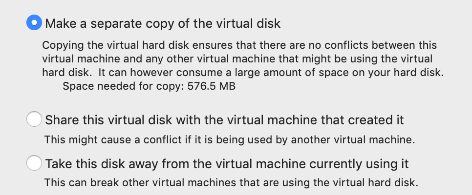 Create a copy of the virtual disk