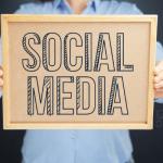 Social media written on a board