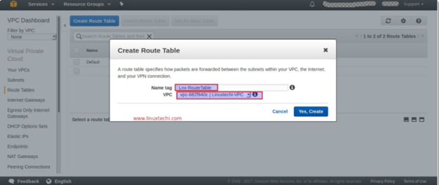 Create a route table