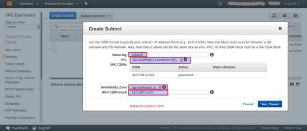 Create a subnet step 2